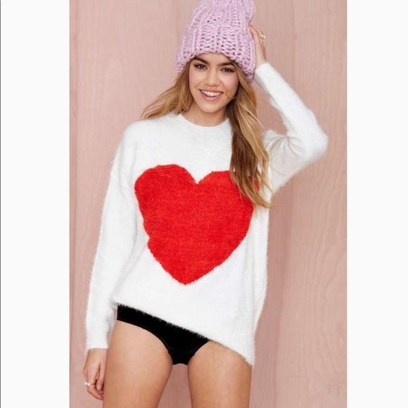 Nasty Gal Sweaters - Nasty Gal Heart on Fuzzy Sweater Sz Large